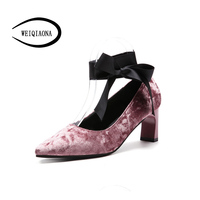 WEIQIAONA 2018 Brand Design New Retro Women Shoes Flock Sweet Lace up Bow Ballet High Heel Party Shoes Dress shoes Party Shoes