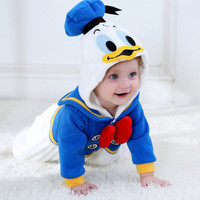 Spring Autumn Baby Clothes Flannel Baby Boy Girl Romper Cartoon Animal Jumpsuit Navy Sailor Duck Rompers
