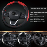 pu leather Universal 37 38cm Car Steering Wheel Cover 5 Colors PU Leather Anti-slip Auto Steering-wheel Covers Sports Car Styling Interior (2)