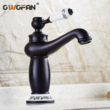 Retro Black Basin Faucet Bathroom Oil Rubbed Bronze Classic Sink Faucet Deck Mounted Single Handle Mixer Water Taps S79-350 все цены