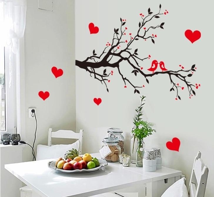μαύρο κόκκινο αγάπη καρδιές πτηνά - Διακόσμηση σπιτιού - Φωτογραφία 2
