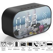 FM 라디오와 LED 알람 시계 무선 블루투스 스피커 미러 디스플레이 지원 Aux TF USB 음악 플레이어 무선 Office 홈