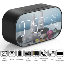 LED Alarm Clock with FM Radio Wireless Bluetooth Speaker Mirror Display Support Aux TF USB Music Player Wireless for Office Home bluetooth alarm clock wireless speaker with led display