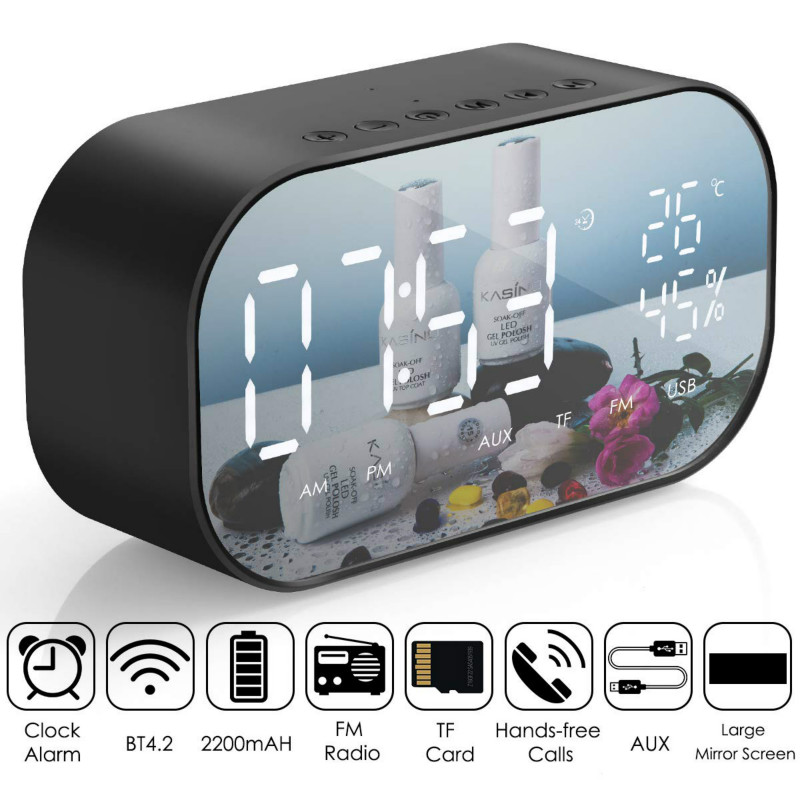LED Alarm Clock with FM Radio Wireless Bluetooth Speaker Mirror Display Support Aux TF USB Music Player Wireless for Office Home