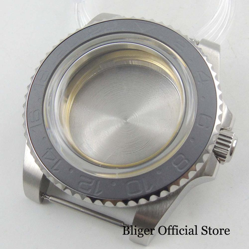 Fit for MIYOTA Movement Automatic Watch Case With Brushed Ceremic Bezel Arched GlassFit for MIYOTA Movement Automatic Watch Case With Brushed Ceremic Bezel Arched Glass