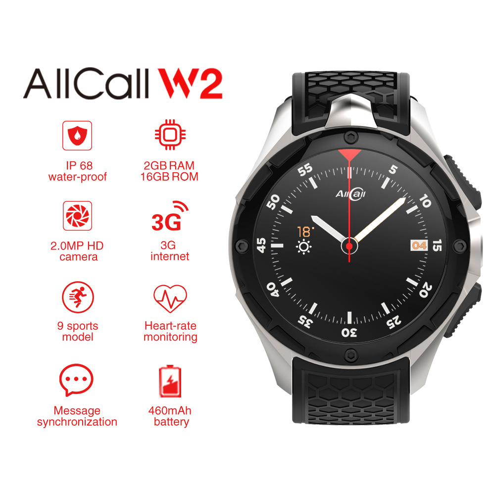 AllCall W2 3G WCDMA Android 7,0 Quad Core Smart Watch 1,39 ''HD pantalla 2G 16G memoria GPS Wifi Bluetooth 4,0 relojes.