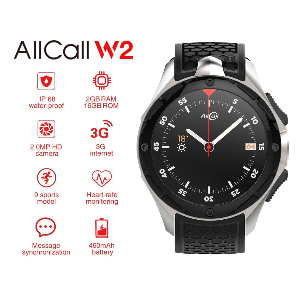 AllCall W2 3g WCDMA Android 7.0 Quad Core Smart Montre 1.39 ''HD Écran 2g 16g Mémoire GPS Wifi de Fréquence Cardiaque Bluetooth 4.0 Montres.