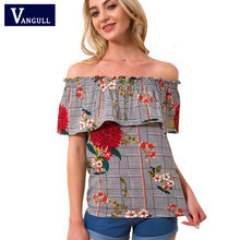 Vangull Summer Casual Blouse New 2018 Loose Sexy Women Off Shoulder Tops Short Sleeve Shirt Flower Print Ruffle Blouse Tops(China)
