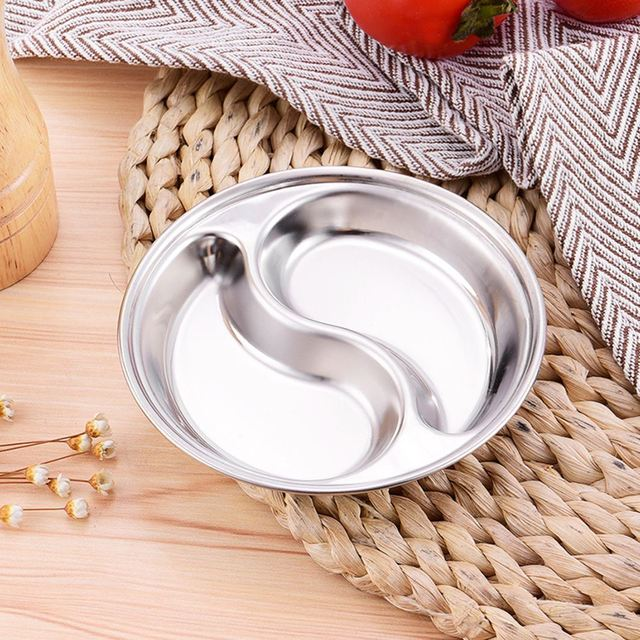 Thick Stainless Steel Dishes With Two Compartments