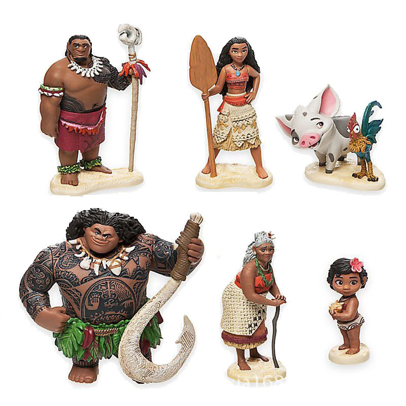 6pcs/set 6-12cm vaiana Moana Princess Maui Chief Tui Tala Heihei Pua Action Figure Brinquedo Toys For Children Christmas Gift gonlei moana waialiki maui heihei abs weapons light sound saber fishing action figures moana adventure abs toy lightsaber gift