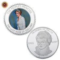 WR The People's Princess Challenge Coin Commemorative Princess Diana Silver Plated Foil Coin with Cover for Home Decoration