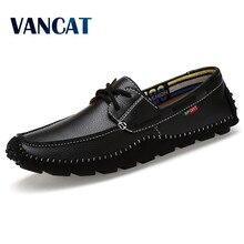 VANCAT Tamaño Grande de Alta Calidad de Los Hombres de Cuero Genuino Zapatos Mocasines Moda Suave Hombres de la Marca Pisos Comfy Casual Conducción Boat38-47