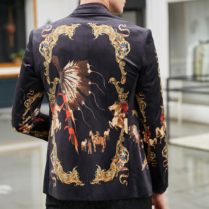 Win Way Casual Plus Size M 4XL Jacket European Style Print Clothing Spring Autumn Suit Outerwear Blazer Men in Blazers from Men 39 s Clothing
