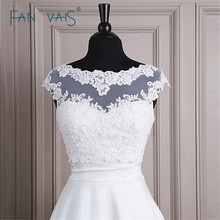 Modest Bateau Neckline Lace Bolero Jacket Cheap Wedding Bridal Wraps Cape Appliqued 2014 Free Shipping(ASPS-1018)