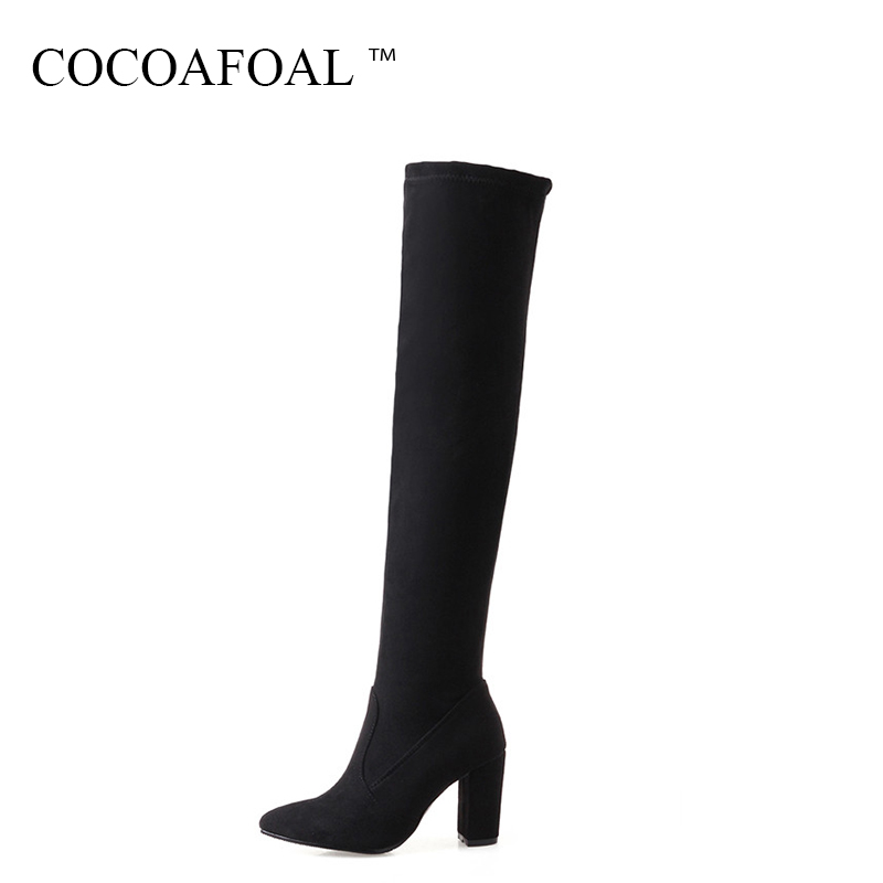 COCOAFOAL Winter Woman High Heeled Shoes Sexy Plus Size 33 43 44 Chelsea Over The Knee Boots Pointed Toe Black Thigh High Boots cocoafoal women sexy black high heeled shoes genuine leather thigh high boots plus size 33 41 winter chelsea over the knee boots