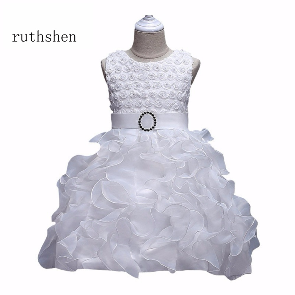 Ruthshen Hot Fashion Red/Pink/Rose/Purplue/Blue/Champagne Ruffles Toddler Birthday Frocks Tiered Beads Flower Girl Dresses 2018