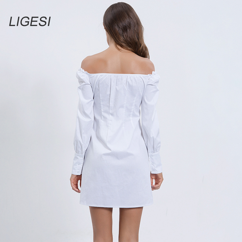 Sexy Off Shoulder White Tunic Dress Pleated Summer Women Long Sleeve Shirt Dress Female Ruffle Party Mini Dresses Elegant in Dresses from Women 39 s Clothing