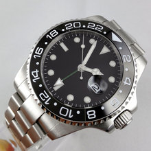 Luxury Brand Bliger Mechanical Watches 43mm sterile Black dial GMT Ceramic Bezel sapphire automatic movement men's watch 2016 new 45mm parnis mechanical watches man ceramic bezel black dial japan automatic movement men s watch free shipping
