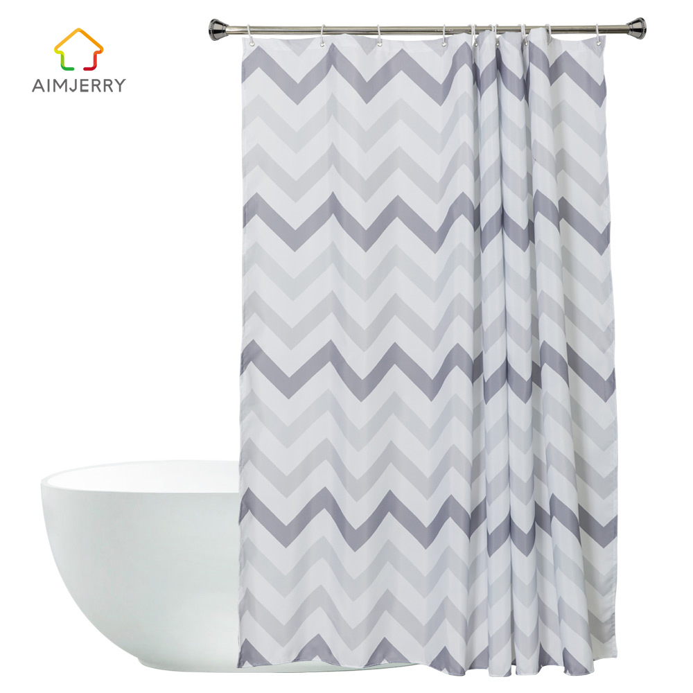 Aimjerry Striped White and Black London Bathtub Bathroom Fabric Shower Curtain with 12 Hooks 71Wx71H Waterproof and Mildewproof
