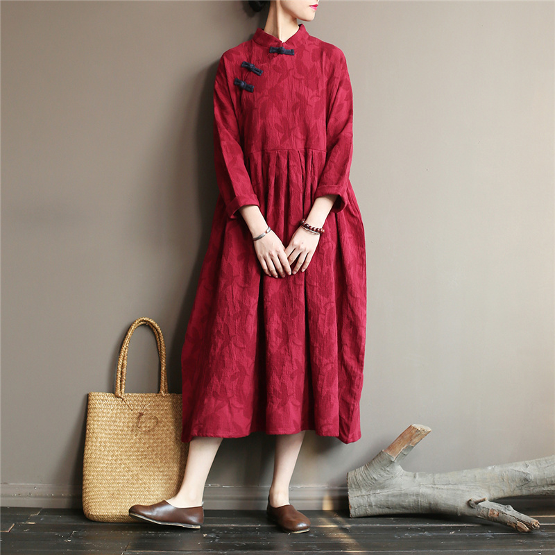Autumn New Women Chinese Dress Vintage Cotton Linen Robes Stand Long Sleeve Button Jacquard Loose Casual