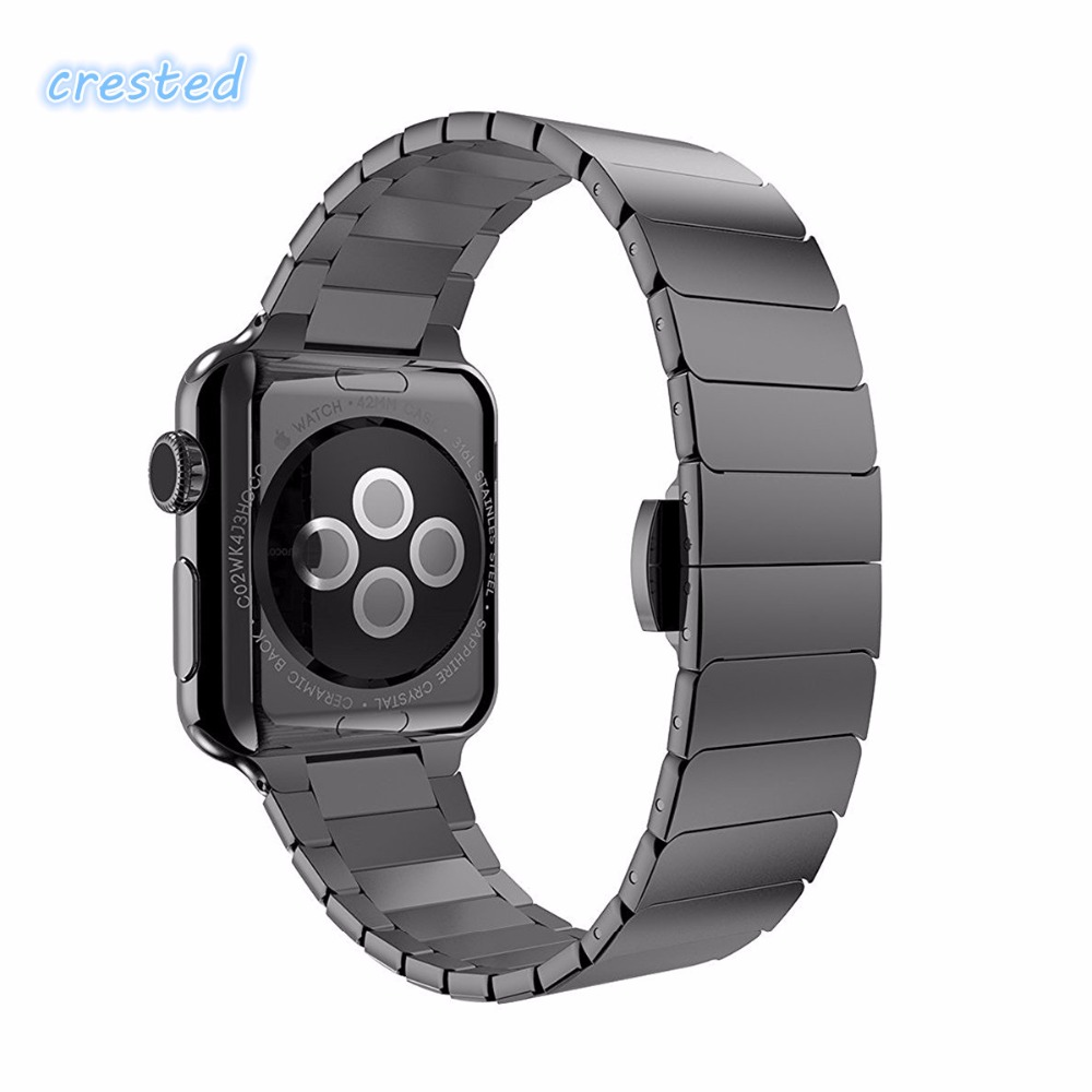 CRESTED Stainless Steel band for Apple Watch 3 42mm/38mm iwatch 3/2/1 Link Bracelet wirstband metal Butterfly buckle Watchband