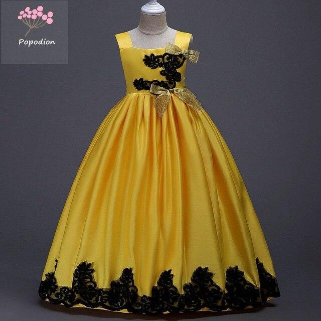 Popodion שמלות ילדה פרח צהוב כדור שמלת תחרות שמלות ילדה פרח בנות שמלות לחתונות FGD10093 vestido לונגו