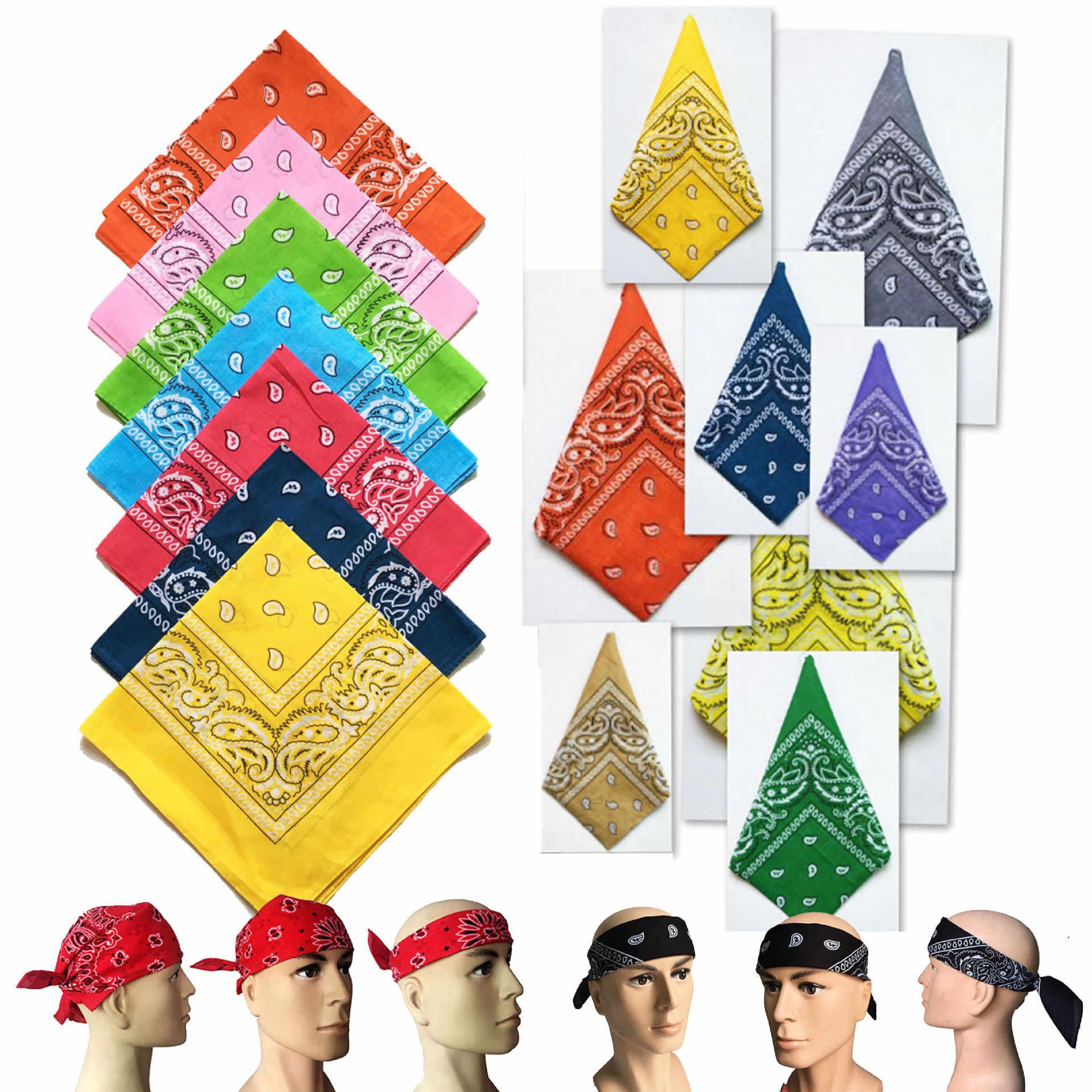 34 couleurs! 55*55 cm nouveau hip-hop coton mélangé marque Bandanas pour hommes femmes magique tête écharpe foulards anniversaire présent tête écharpe
