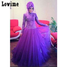 Lace Appliques Long Floor Purple Evening Dresses Muslim Arabic Style with Hijab Robe De Soiree Turky Formal Dresses