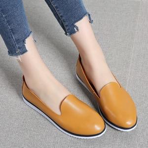 Image 5 - עור אמיתי נשים של קיץ בלט דירות נעלי גבירותיי לנשימה בד אמא נעליים מקרית Sneaker ופרס אופנה הנעלה