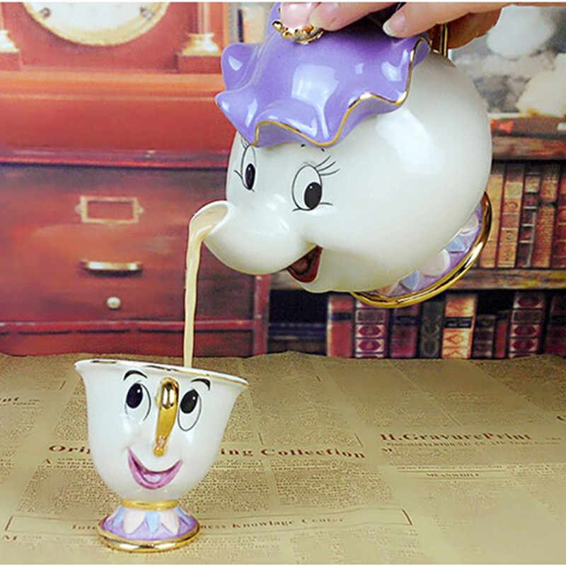 Cartoon Teapot Beauty And The Beast Tea Set Mrs Potts Chip Cup Set Cogsworth Taza Bela E A Fera Lovely Gift Creative Drinkware