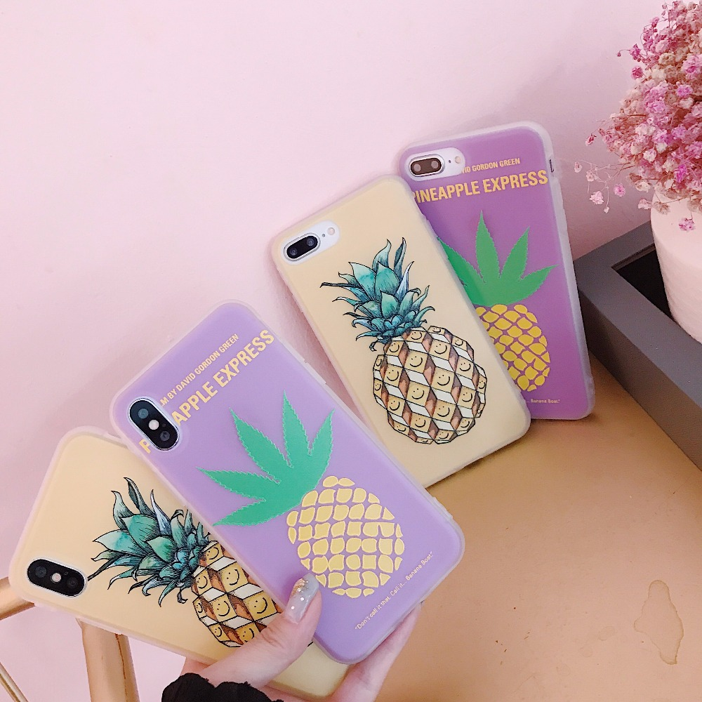 KMUYSL Candy Color Phone Case For iPhone 7 Case Cute Cartoon Fruit Pineapple Ultrathin Soft TPU Cover For iPhone X 8 7 6 6s Plus