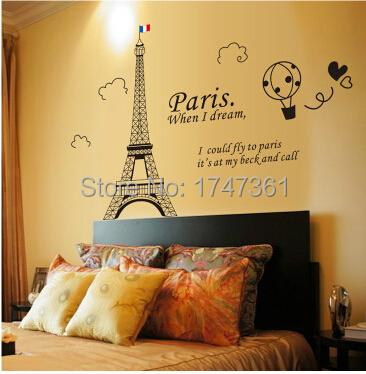 Wall Stickers Home Decor Eiffel Tower Hot Air Balloon Bedroom