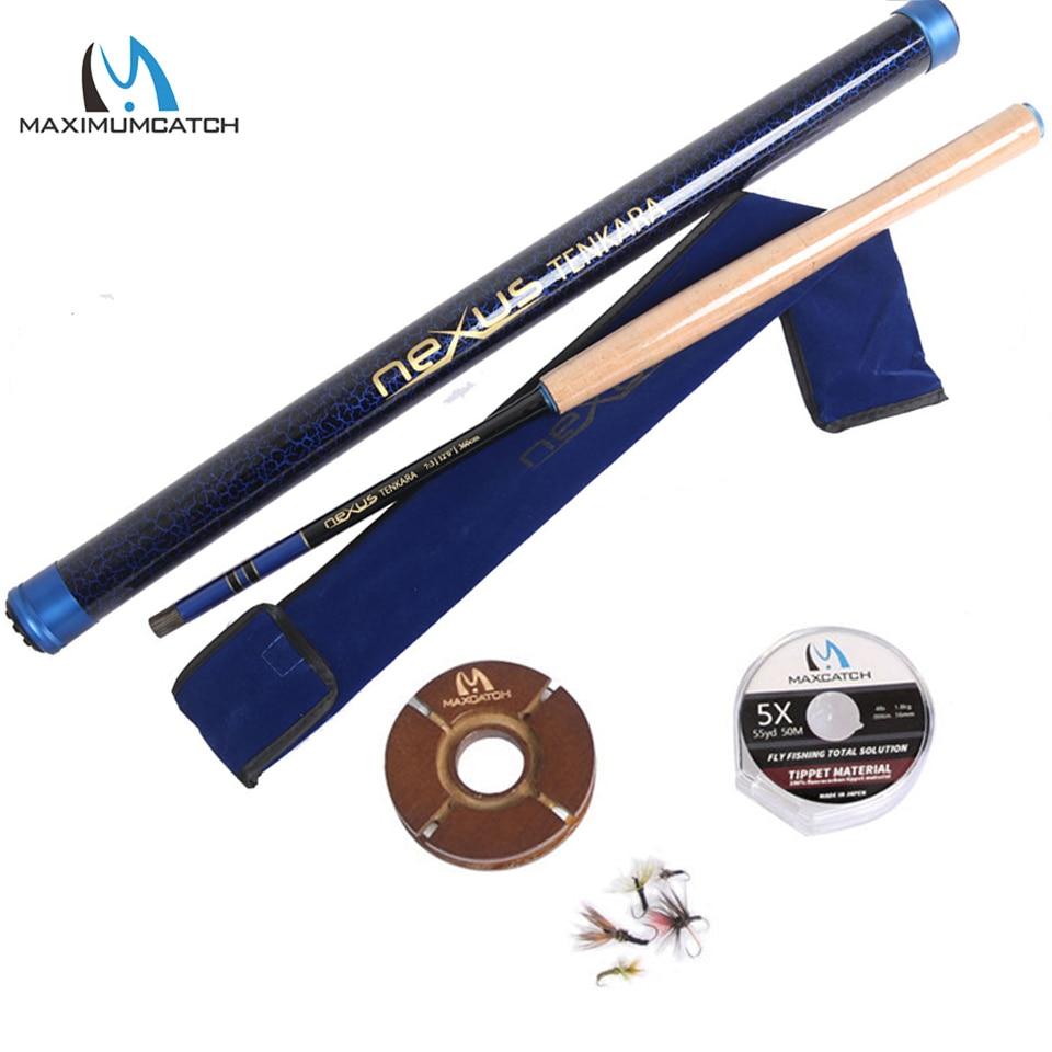 Maximumcatch 12-14FT Nexus Tenkara Rod Outfit IM10/36T Carbon Fiber Fly Rod&Fluorocarbon Tippet&Line Keeper&Flies