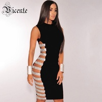 Free Shipping 2017 New Fashion Sexy Hollow Side Striped Beads Embellished Wholesale Women Celebrity Party Bandage