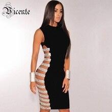 VC HEIßER 2020 Neue Mode Sexy Hohl Side Gestreifte Perlen Verziert Großhandel Frauen Promi party Verband Kleid