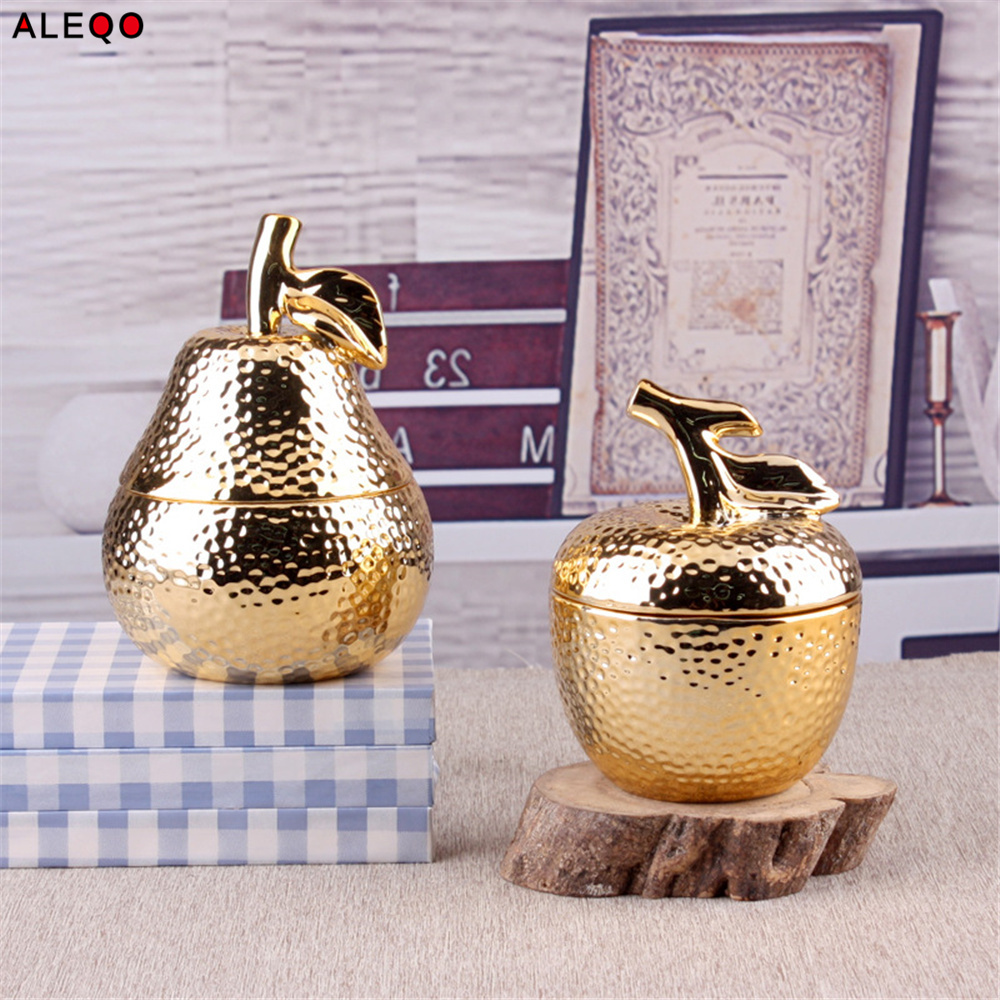 chic gold storage bottle jar with cover ceramics electroplating christmas present sugar pepper candy storage home organizer - Christmas Ceramics