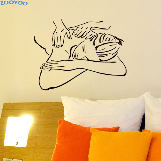 ZOOYOO Beauty Salon Massage Wall Sticker Spa Beautiful Girl Woman ...