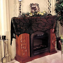 Hot Halloween Party Supplies Fireplace Mantle Scarf Cover Black Lace  Spiderweb Table Cloth For Halloween Decoration Cool