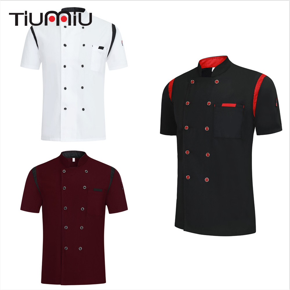 Chef Clothes Summer Breathable Women Men Chef Shirt Short Sleeves Kitchen Restaurant Uniform Bakery Barbershop Cook Overalls