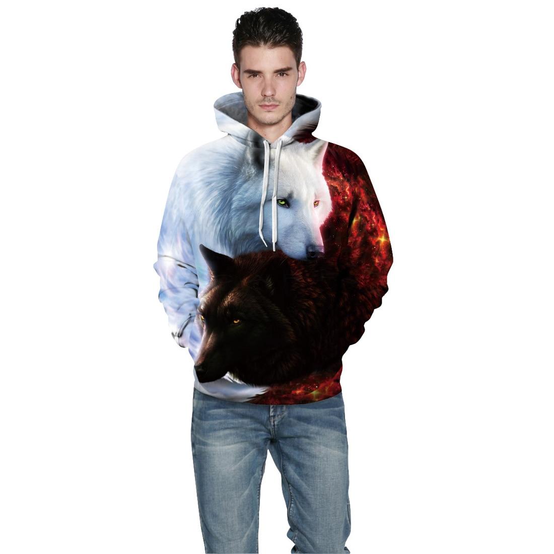 YJSFG HOUSE Mens 3D Hoodie Couples clothes Sweat Animal Wolf Sweatshirt Hoody Pullover Print Long Sleeve Top Hot Coat Sportswear
