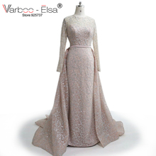 VARBOO_ELSA 2017 New Arrive Glitter Sequins Evening Dress Long Detachable Train Party Gown Long Sleeve Muslim Prom Dress Arabic(China)