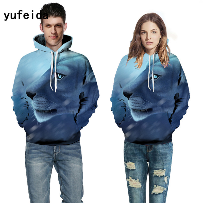 YUFEIDA 2017 3D Hoodies Men Sweatshirts Christmas Gifts 3D Print Long Sleeve Crewneck Hooded Pullover Streetwear Loose Tops
