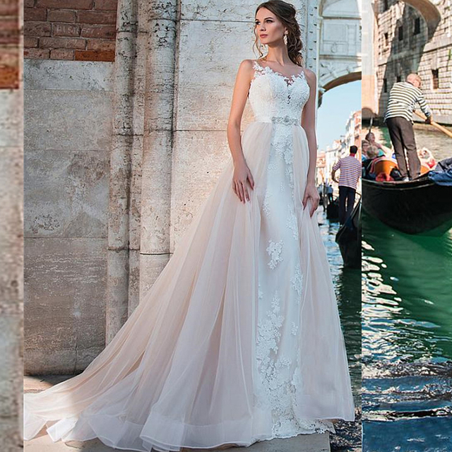 Luxury Two Pieces Mermaid Wedding Dresses Pink with Detachable Skirt 2020 Sexy Off Shoulder Lace Applique Open Back Bridal Gowns