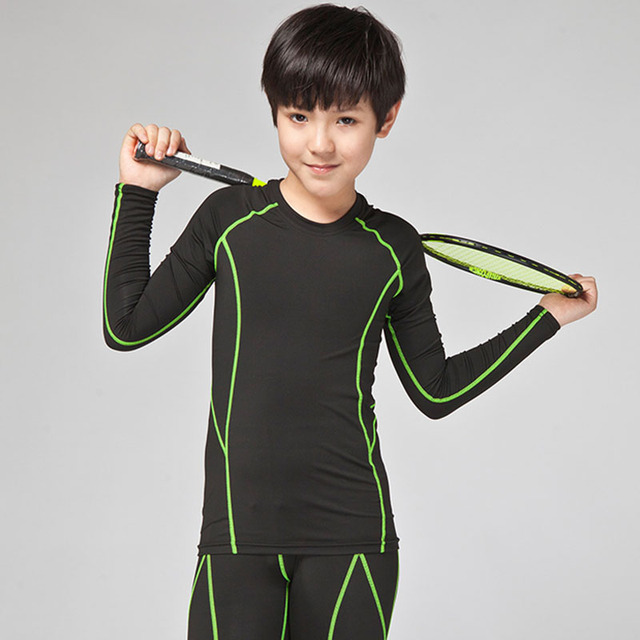 a90c571b55 Kids compression base layer running pants shirts boys Soccer Jerseys Set  Uniforms Tights Leggings kit basketball tennis t shirts
