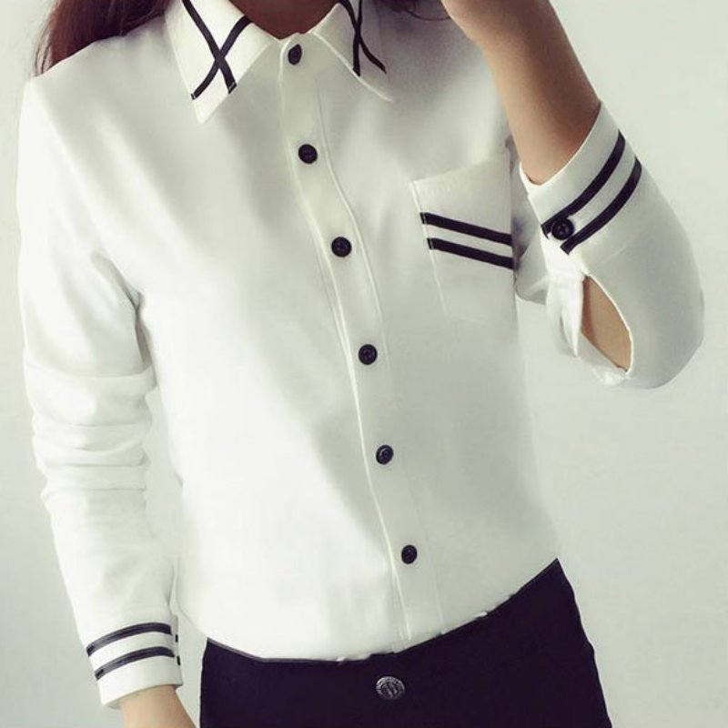 New Office Button Elegant Chiffon Women's Blouse Striped Long Sleeve - Women's Clothing - Photo 1