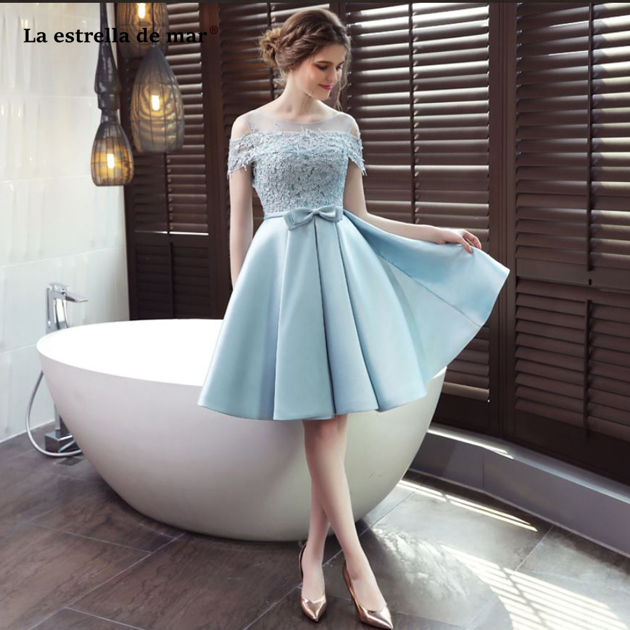 La estrella de mar wedding guest dress2019 new lace satin neck short sleeve a line light blue   bridesmaid     dresses   short plus size