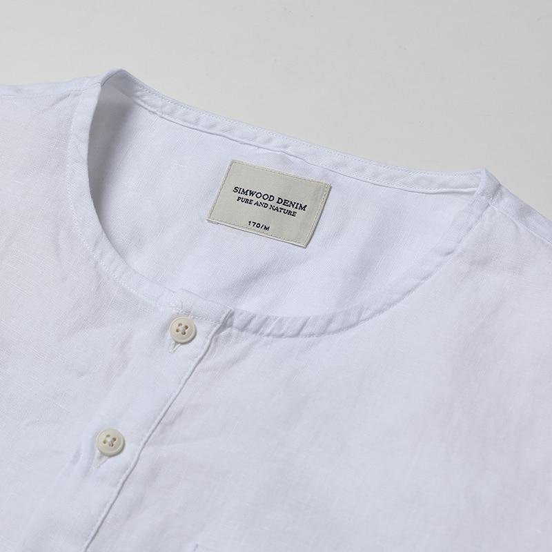 100 Transpirable Los Puro Pantalones Lino Cd017001 2019 White De Cortos Ropa Marca Slim Fit Collar Verano Casuales Hombres Camisetas Henry Simwood wPX7Fqx