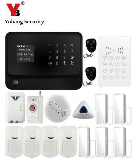 YobangSecurity Smoke Alarm Detector 433Mhz RIFD Keypad Android IOS APP Control Touch Screen GSM WIFI Alarm Systems Security Home yobangsecurity ios android app k4 gsm emergency alarm personal medical alarms with wireless smoke fire detector panic button