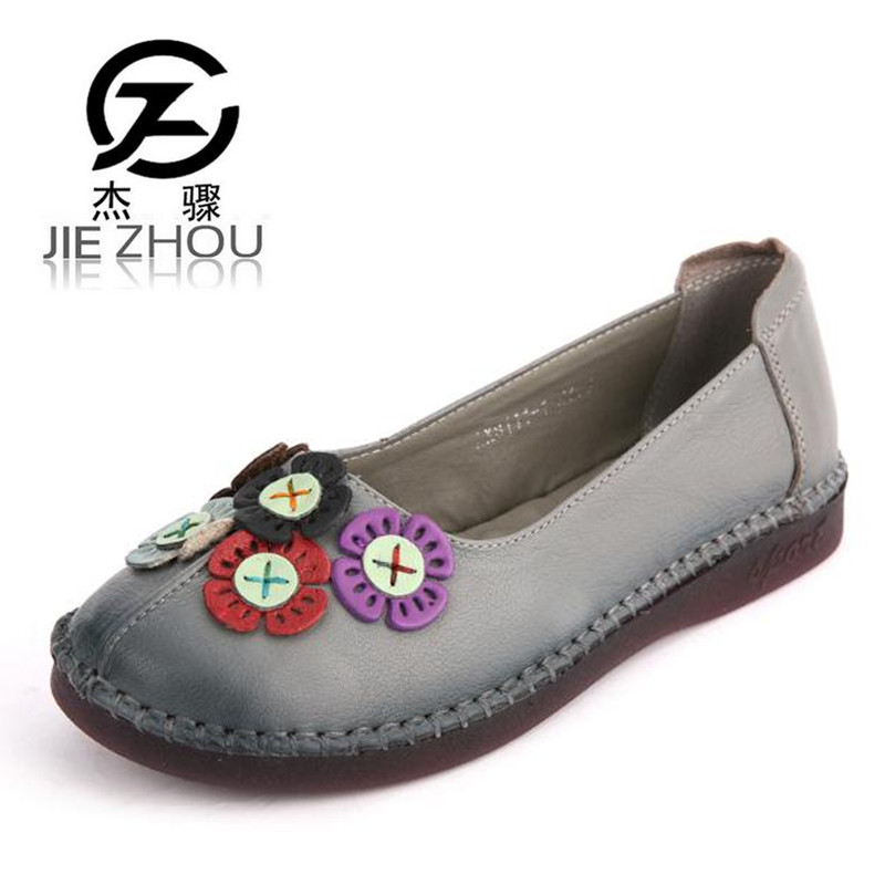 все цены на 2018 spring splicing flower comfort non-slip soft bottom pregnant women Genuine leather flat with shoes Plus Size Women Shoes