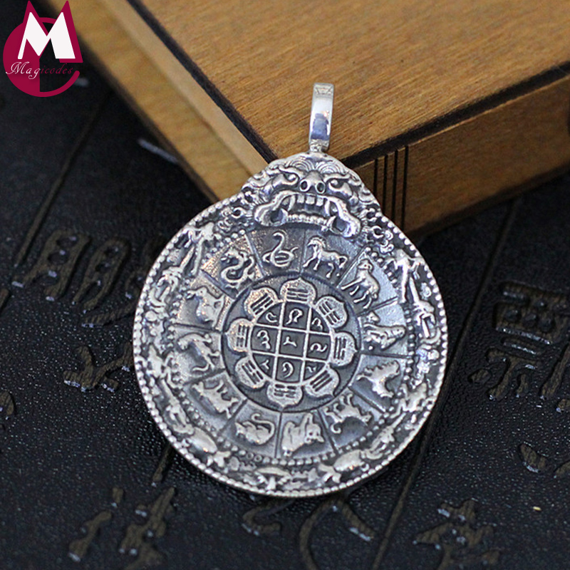 100% 925 Sterling argent collier pendentif hommes femmes chinois commère amulette bijoux Vintage 12 Animal ethnique cheval pendentif SP57
